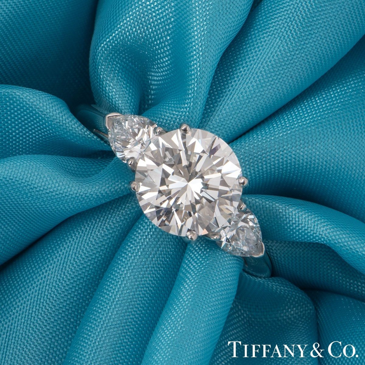 Tiffany & Co. Platinum Diamond Three Stone Ring